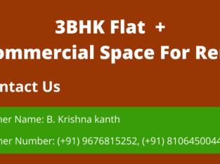 3BHK Flat + Commercial Space For Rent Srinivas Nagar, Vijayawada