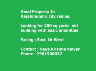 Looking for old property to buy in Rajahmundry City — Looking around 75-85 Lakhs (Square yards 250 square yards)