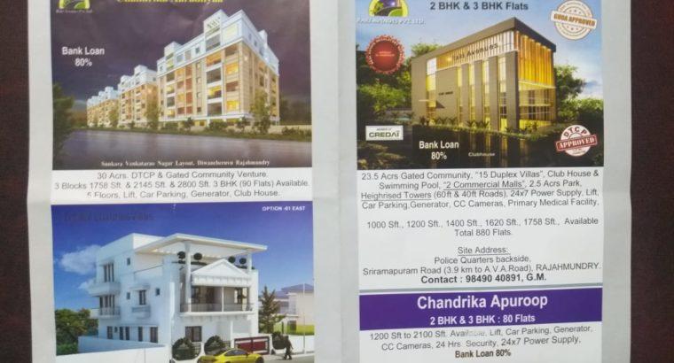 3BHK & 2BHK Flats for Sale at DTCP Approved Gated Community, Gadalamma Nagar Rajahmundry.
