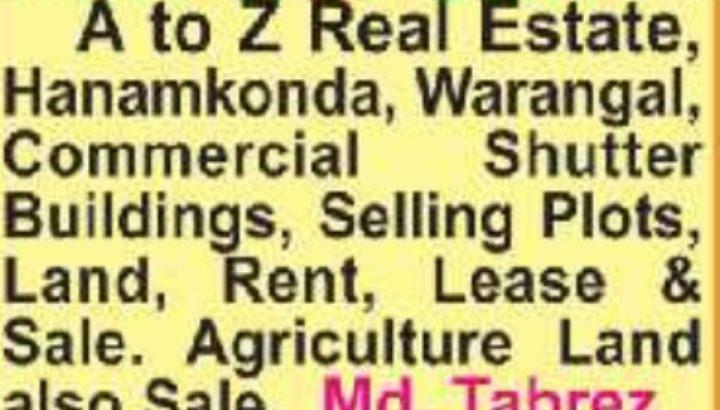 A to Z Real Estate Services, Warangal, Hanamkonda.