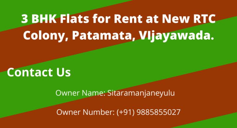 3 BHK Flats for Rent at New RTC Colony, Patamata, Vijayawada.