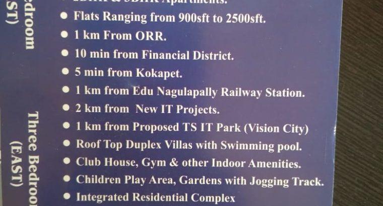 G +17 Floors 3BHK & 2 BHK Flats for Sale at Gated Community Apartments Kollur, Ranga Reddy District